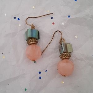 Vintage abalone and rose quartz earrings